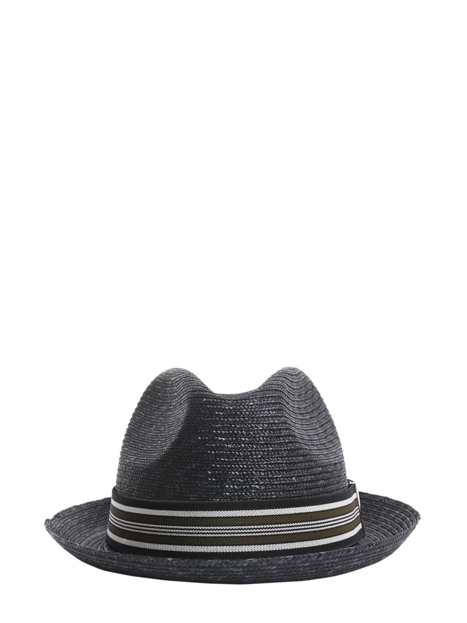 Lyst - Borsalino Suspender Straw Cap in Black for Men 9b2231c34f82