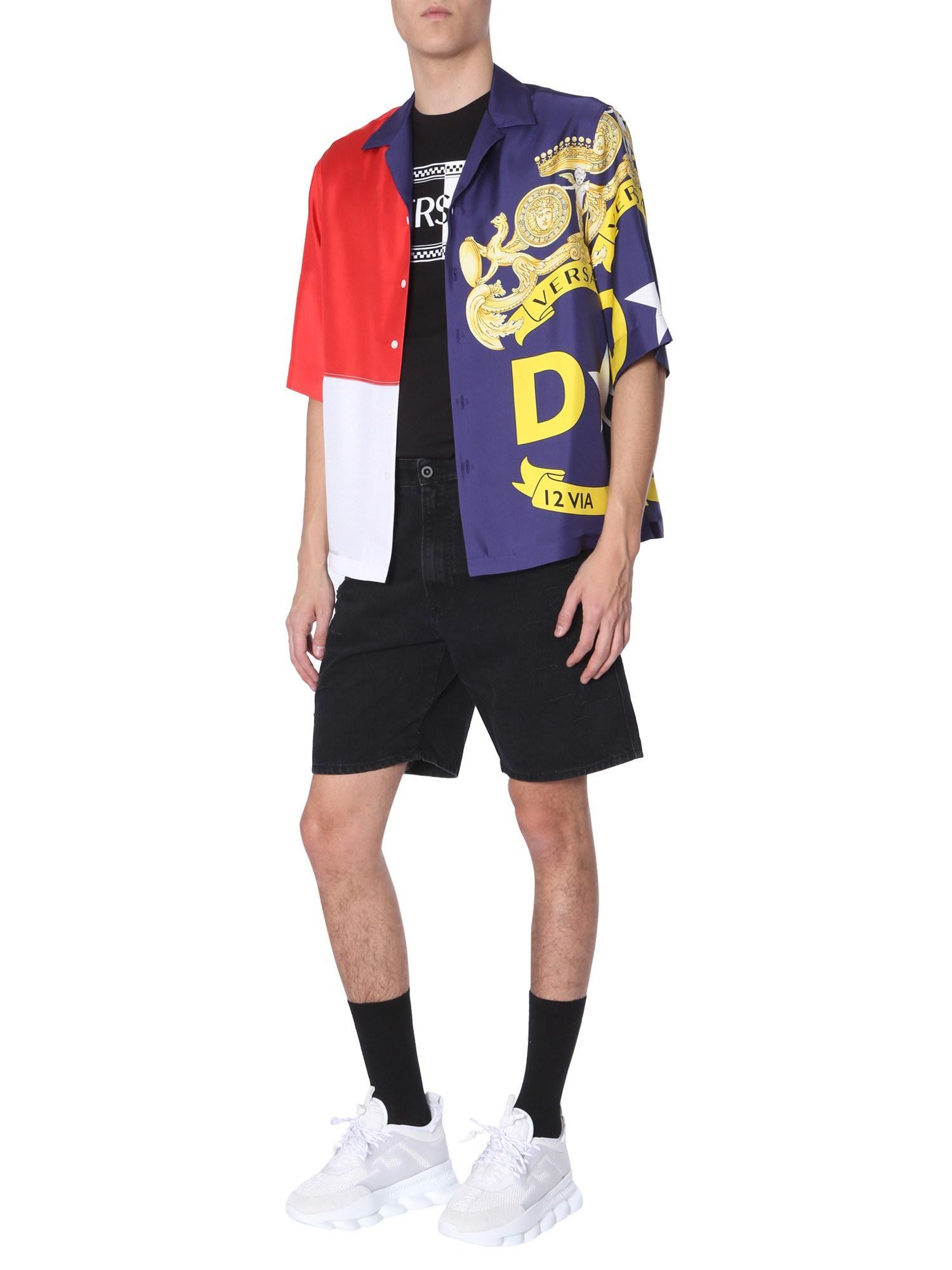 7845b9a3f Versace Camp-collar Printed Silk-twill Shirt for Men - Save 7% - Lyst