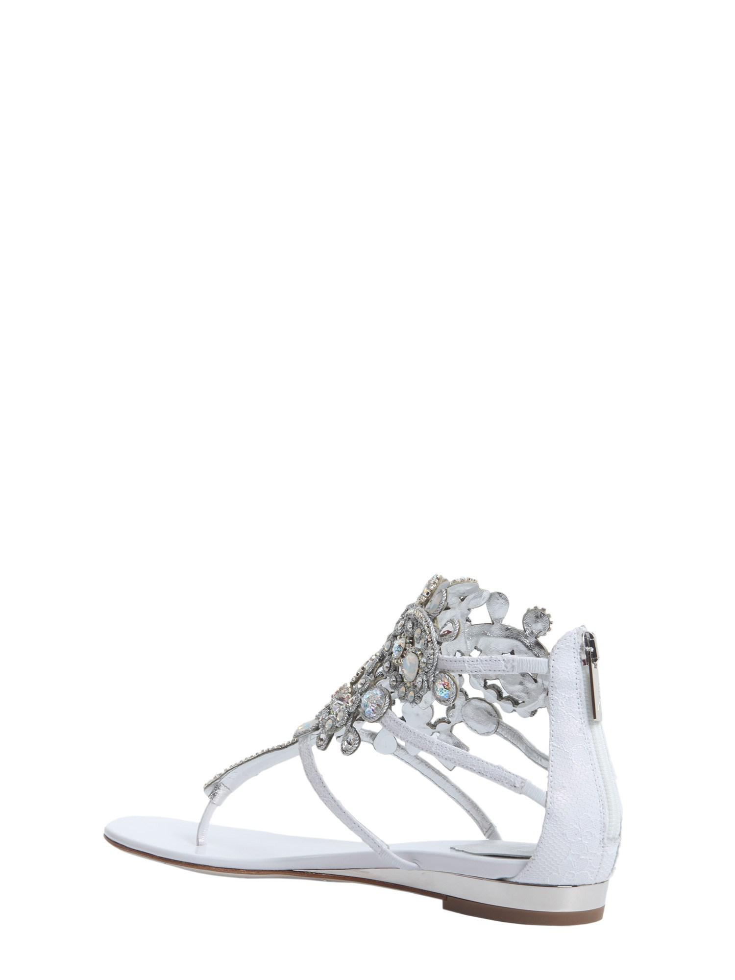 82be7f440a3 Rene Caovilla - White Crystal Embellished Leather Flips - Lyst. View  fullscreen