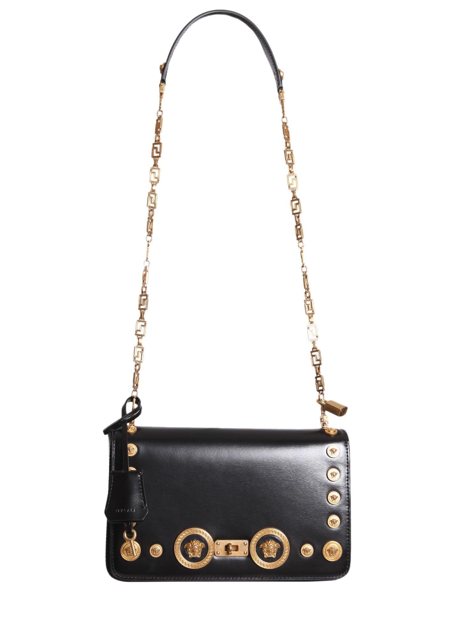 Lyst - Versace Medusa Stud Icon Leather Shoulder Bag in Black 9d9bda06e6af4