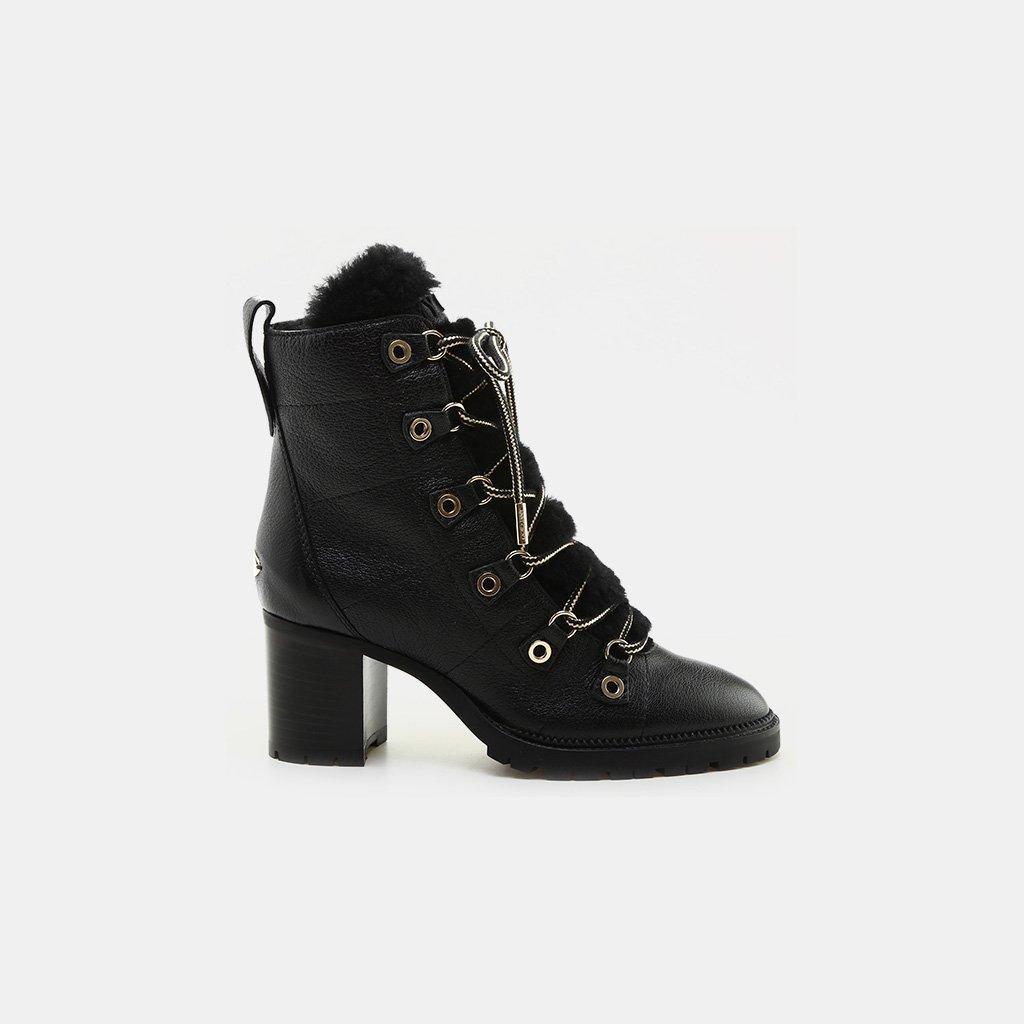 ba75153fbc1 Jimmy Choo. Women s Black Hillary 65 Shearling Tongue Leather Lace-up Boot