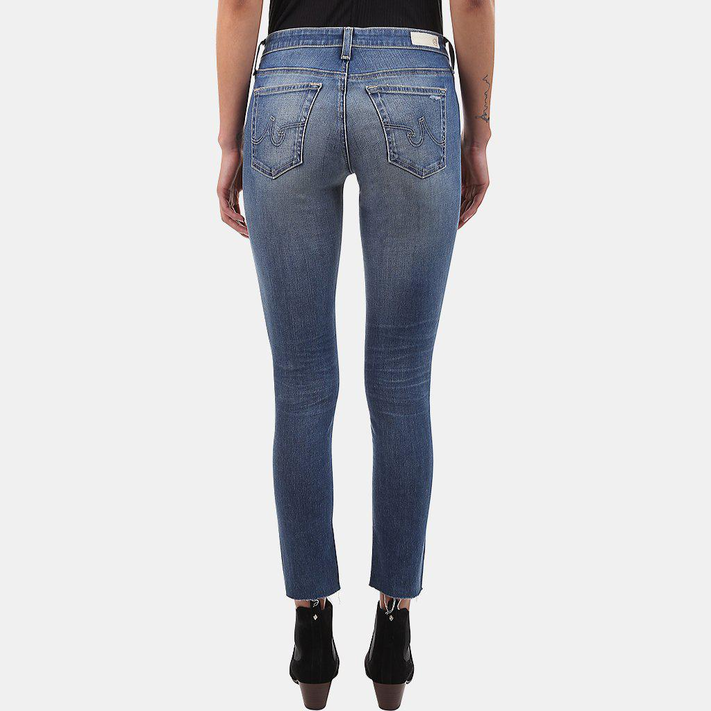 78a9a7fcfb937 AG Jeans Legging Ankle Skinny Jean In 18 Years Destroyed in Blue - Lyst