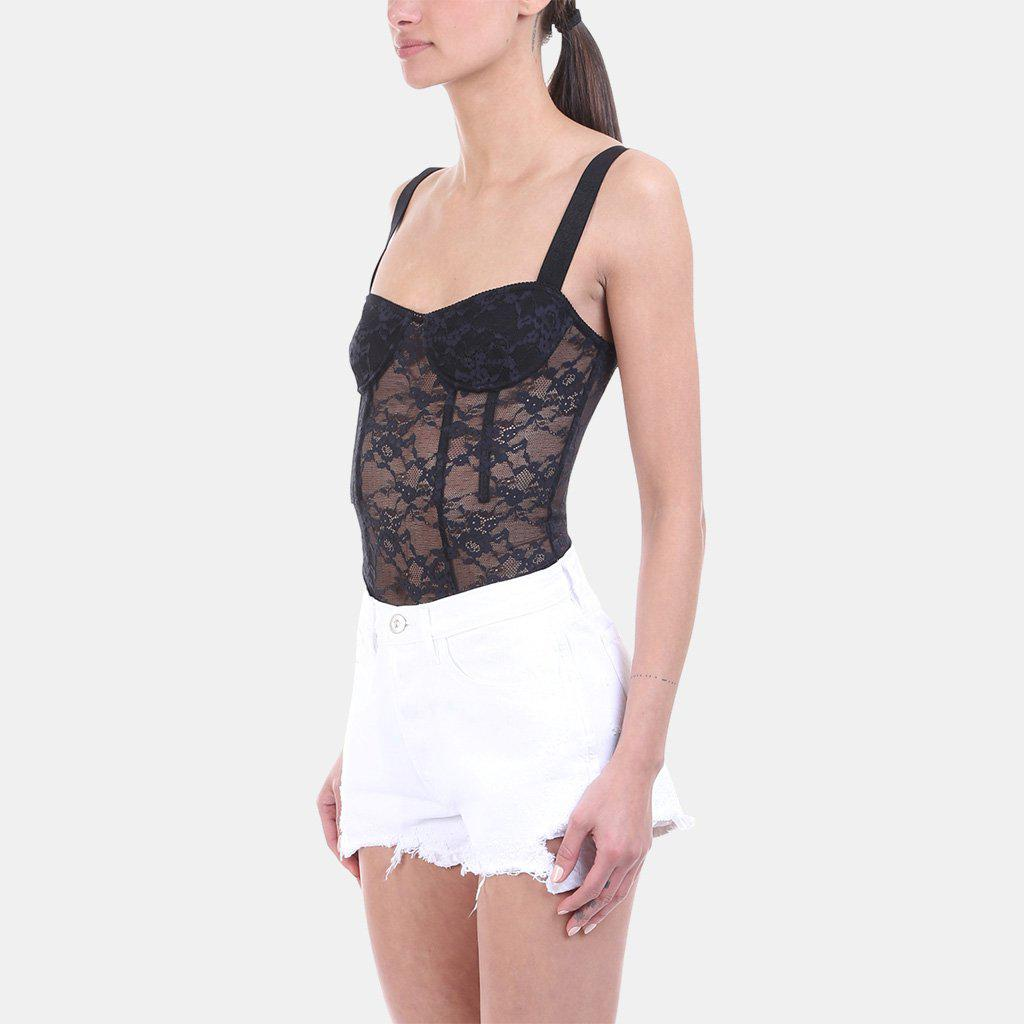 Kendall + Kylie - Black Lace Corset Bodysuit - Lyst. View fullscreen 85778b1f8