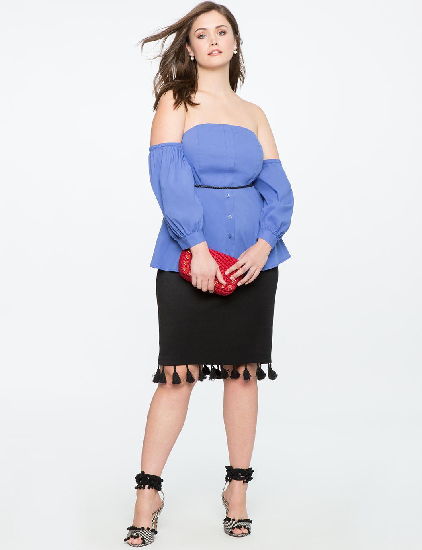 622002a94b11d3 Eloquii - Blue Off The Shoulder Puff Sleeve Top - Lyst. View fullscreen