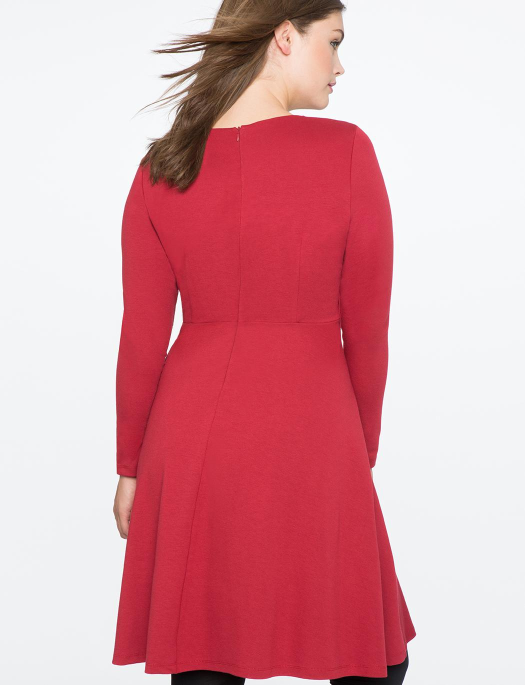 513601f618c Lyst - Eloquii Fit And Flare Dress With Slit Detail in Red