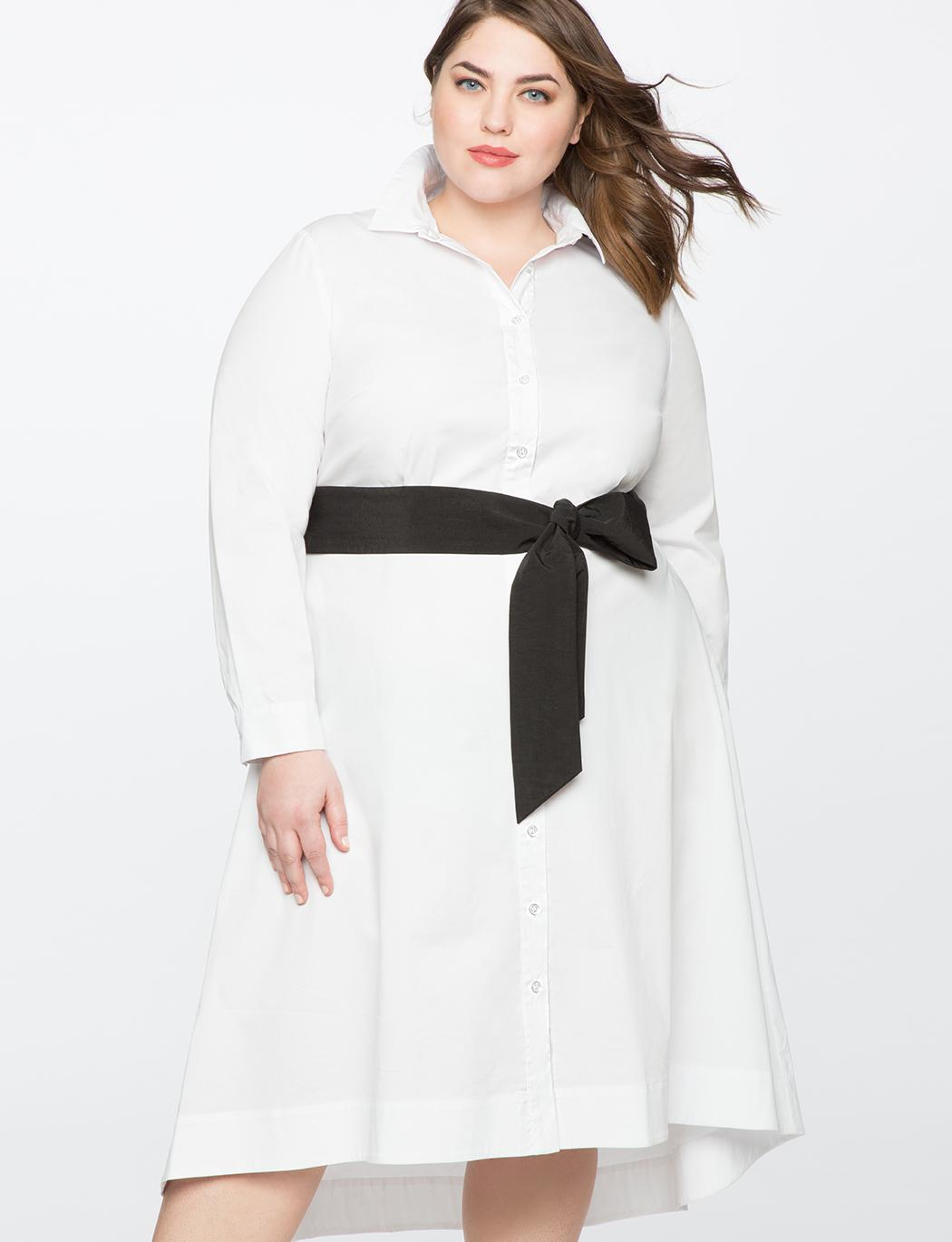 7e144e4bc82840 Lyst - Eloquii High Low Shirt Dress With Contrast Belt in White