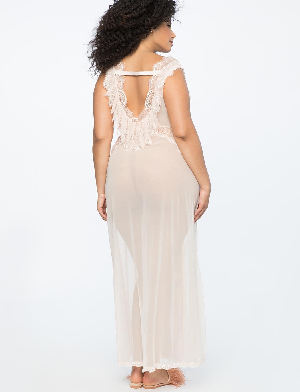 Lyst - Eloquii Sheer Dressing Gown in Metallic