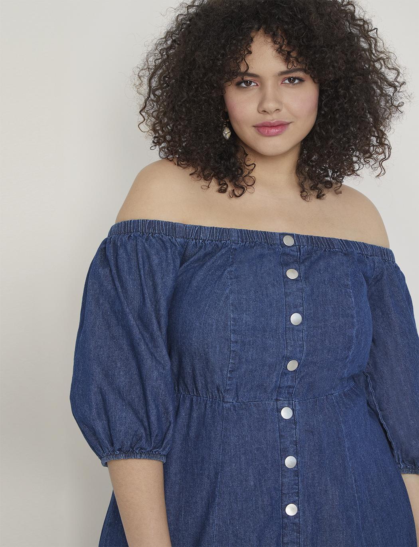 1ef03a1209975c Lyst - Eloquii Off The Shoulder Puff Sleeve Dress in Blue