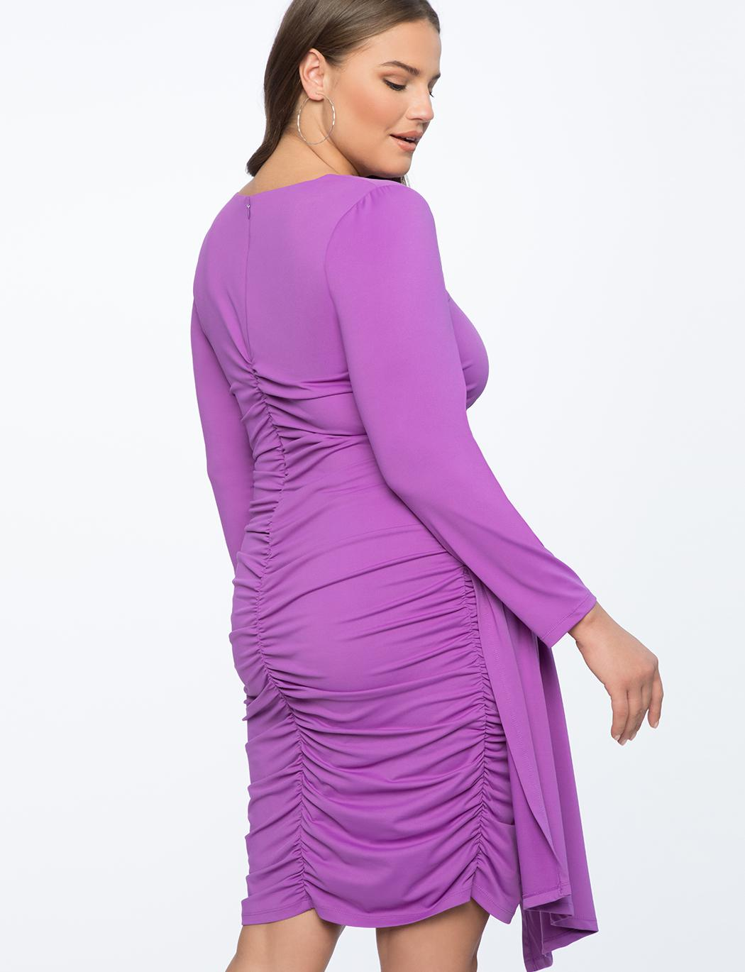 f515531d515 ... Ruched Dress With Skirt Overlay - Lyst. View fullscreen