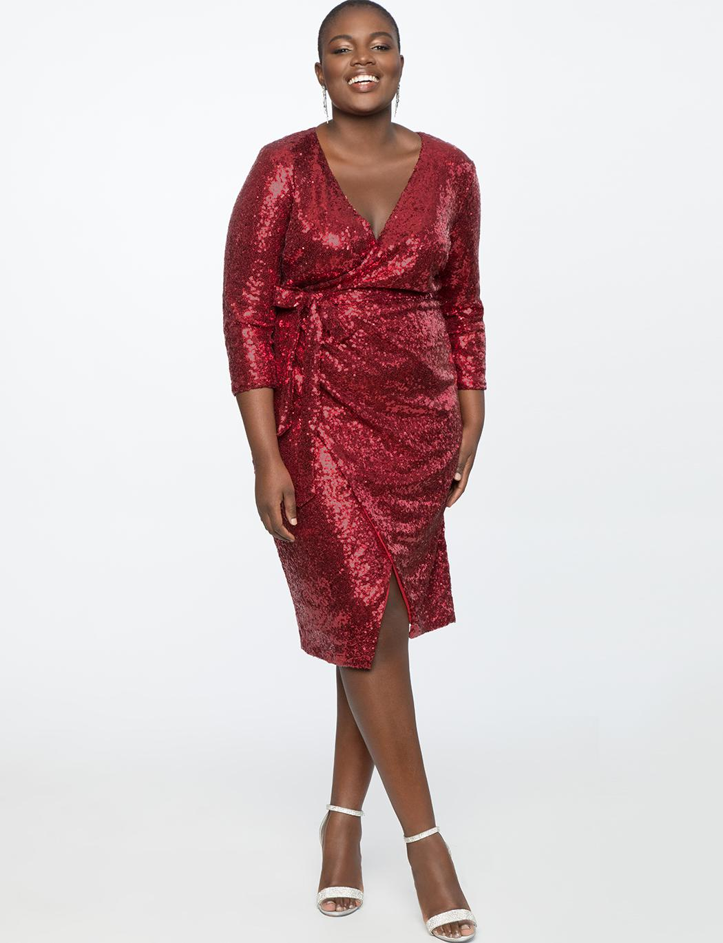 7d1acc8ce9b Eloquii Sequin Wrap Dress in Red - Lyst