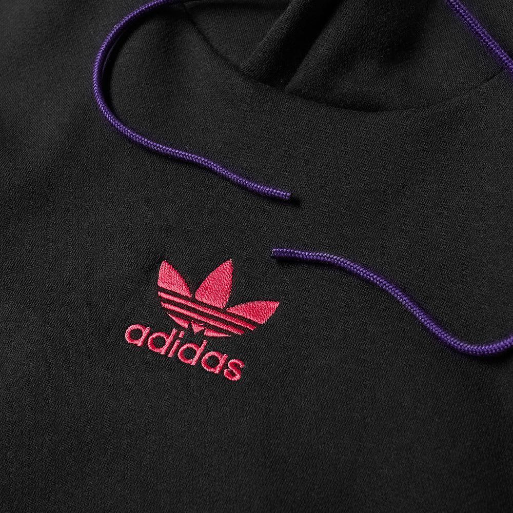 adidas Cotton Sportive 3 Stripe Hoody in Black for Men - Lyst