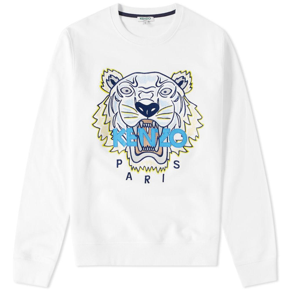 2e8999c4f KENZO Tiger Face Crew Sweat in White for Men - Lyst