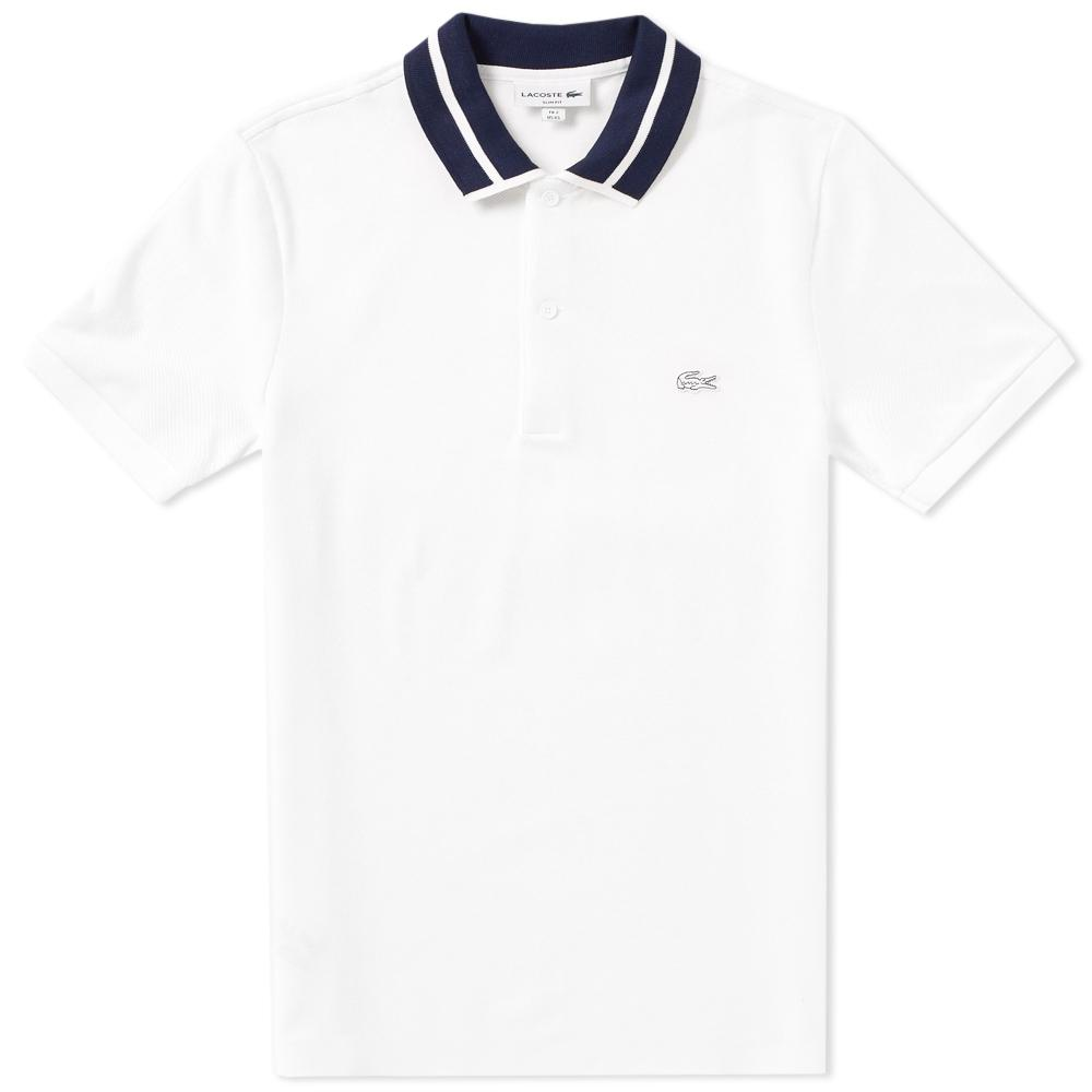 c9725ee784 Lacoste Stripe Collar Polo in White for Men - Lyst
