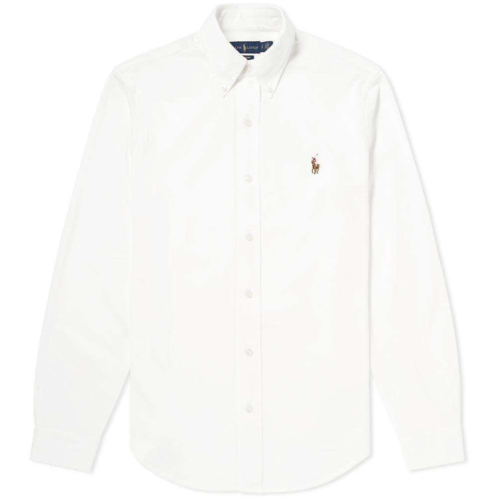 Polo ralph lauren slim fit button down pique shirt in for Slim fit white button down shirt