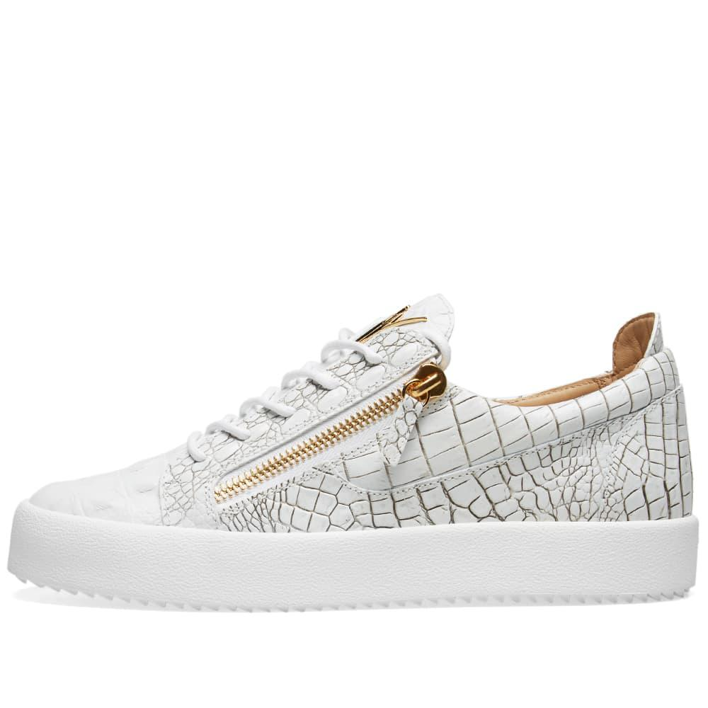 b4a6c92d096ec Giuseppe Zanotti - White Double Zip Low Croc Sneaker for Men - Lyst. View  fullscreen
