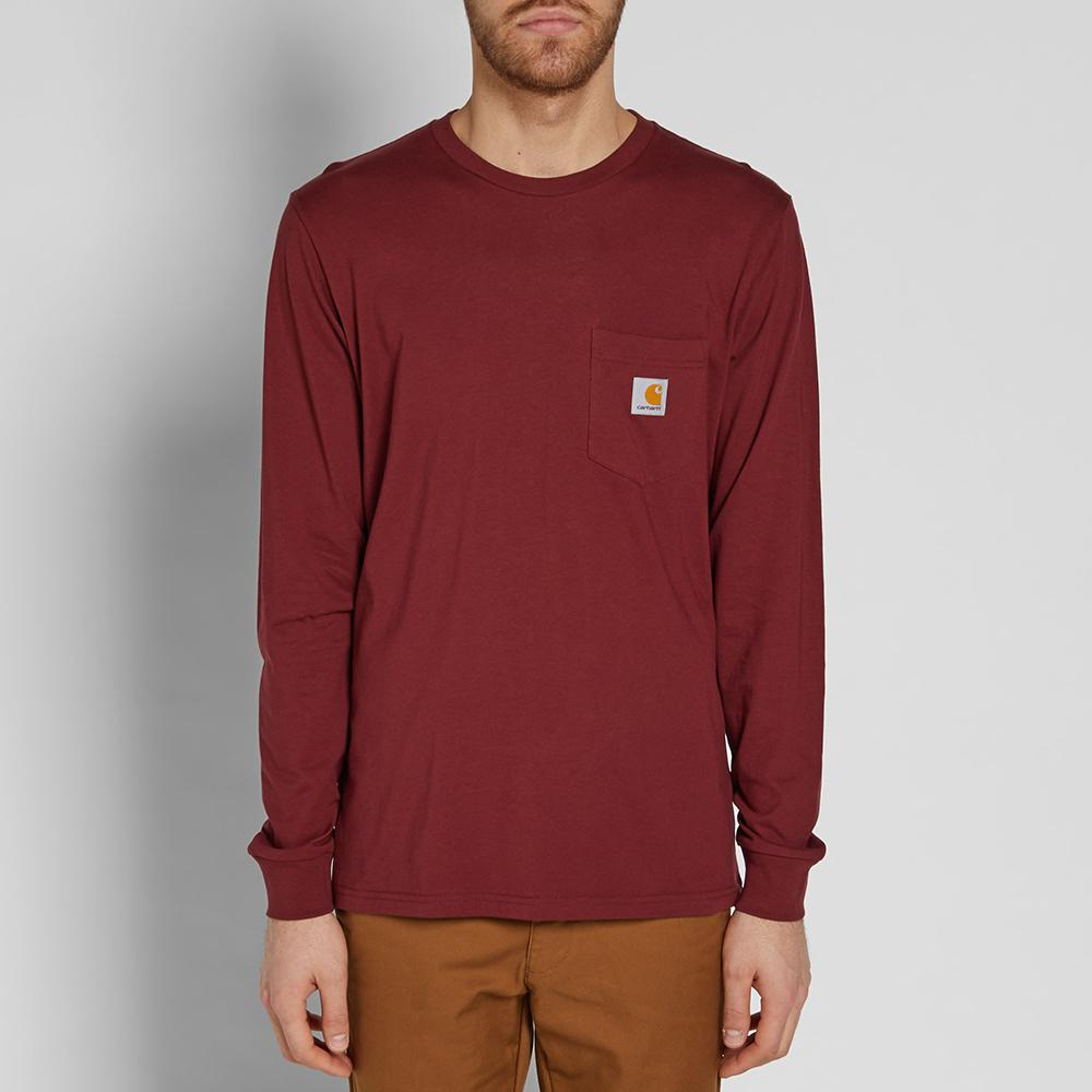 Lyst carhartt wip long sleeve pocket tee in red for men for Carhartt burgundy t shirt