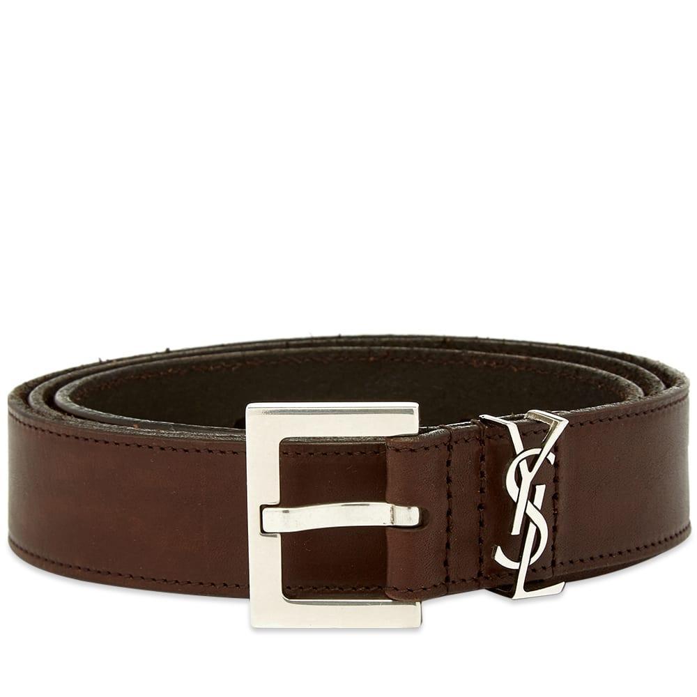 Saint Laurent Ysl Leather Belt In Brown For Men Lyst