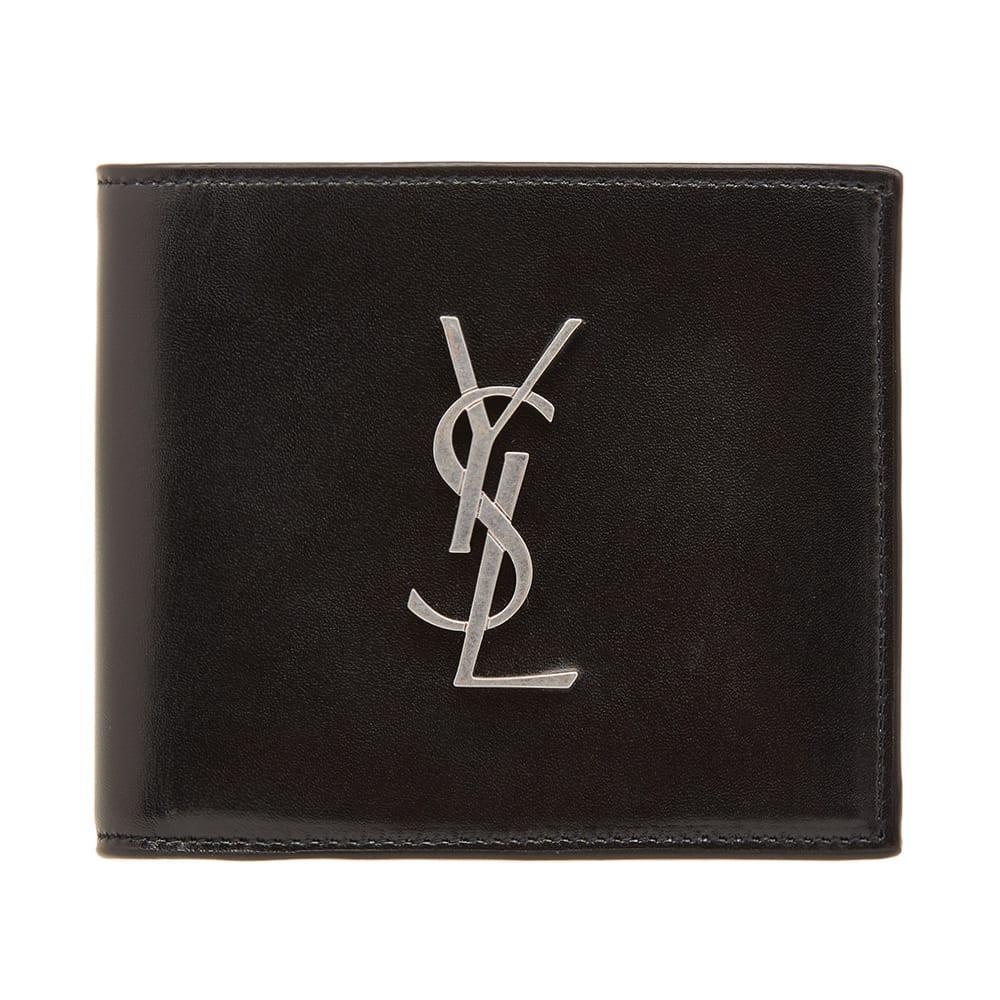 ef5afec3006 Saint Laurent East West Ysl Metal Logo Billfold Wallet in Black for ...