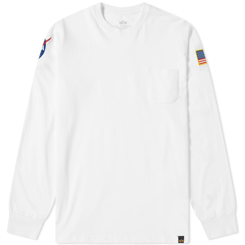 9ebe028f Lyst - Alpha Industries Long Sleeve Nasa Tee in White for Men - Save 41%