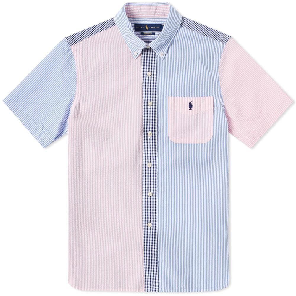 b83f7d999 Polo Ralph Lauren. Men's Blue Short Sleeve Seersucker Button Down Shirt