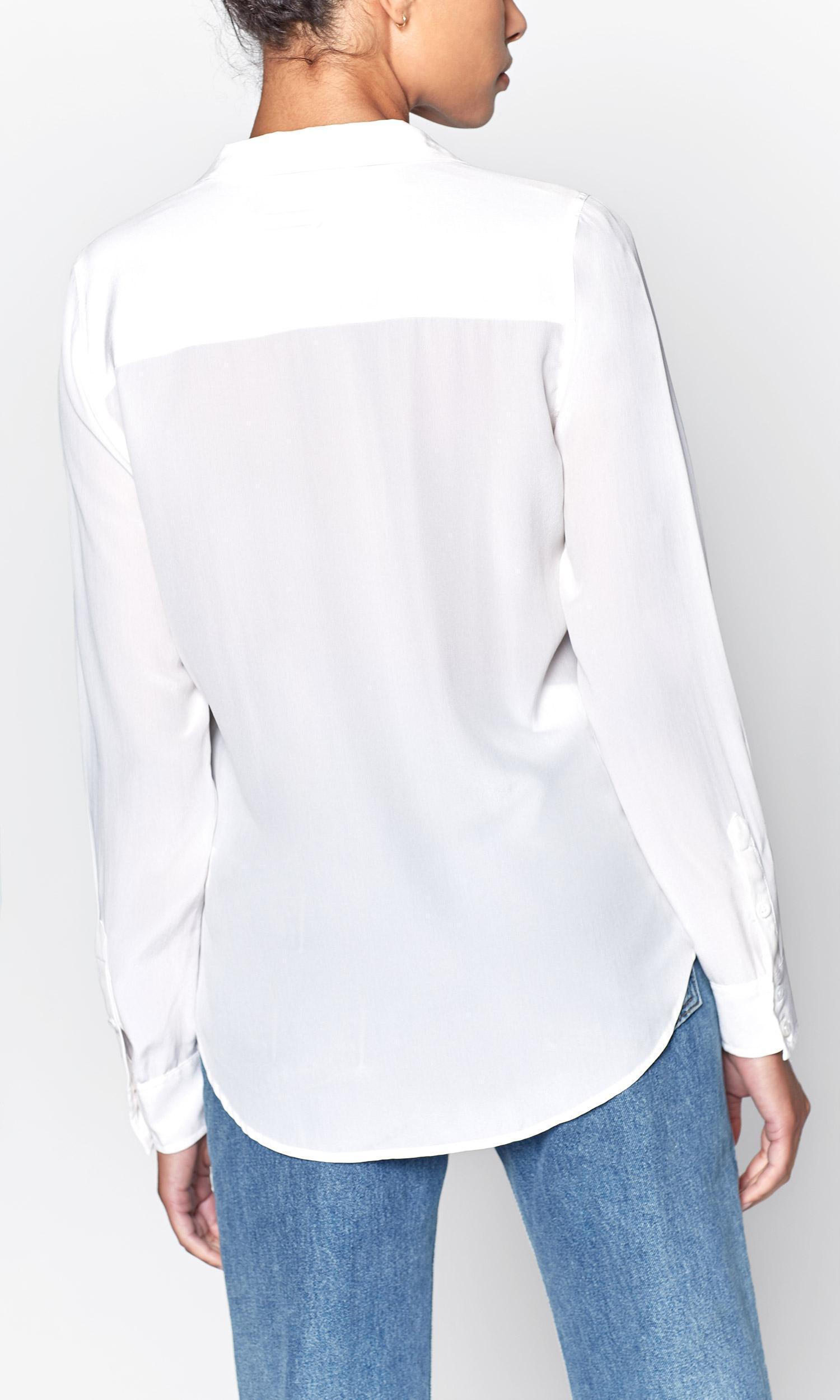 a43751272dc22c Equipment - White Long Sleeve Adalyn Silk Shirt - Lyst. View fullscreen