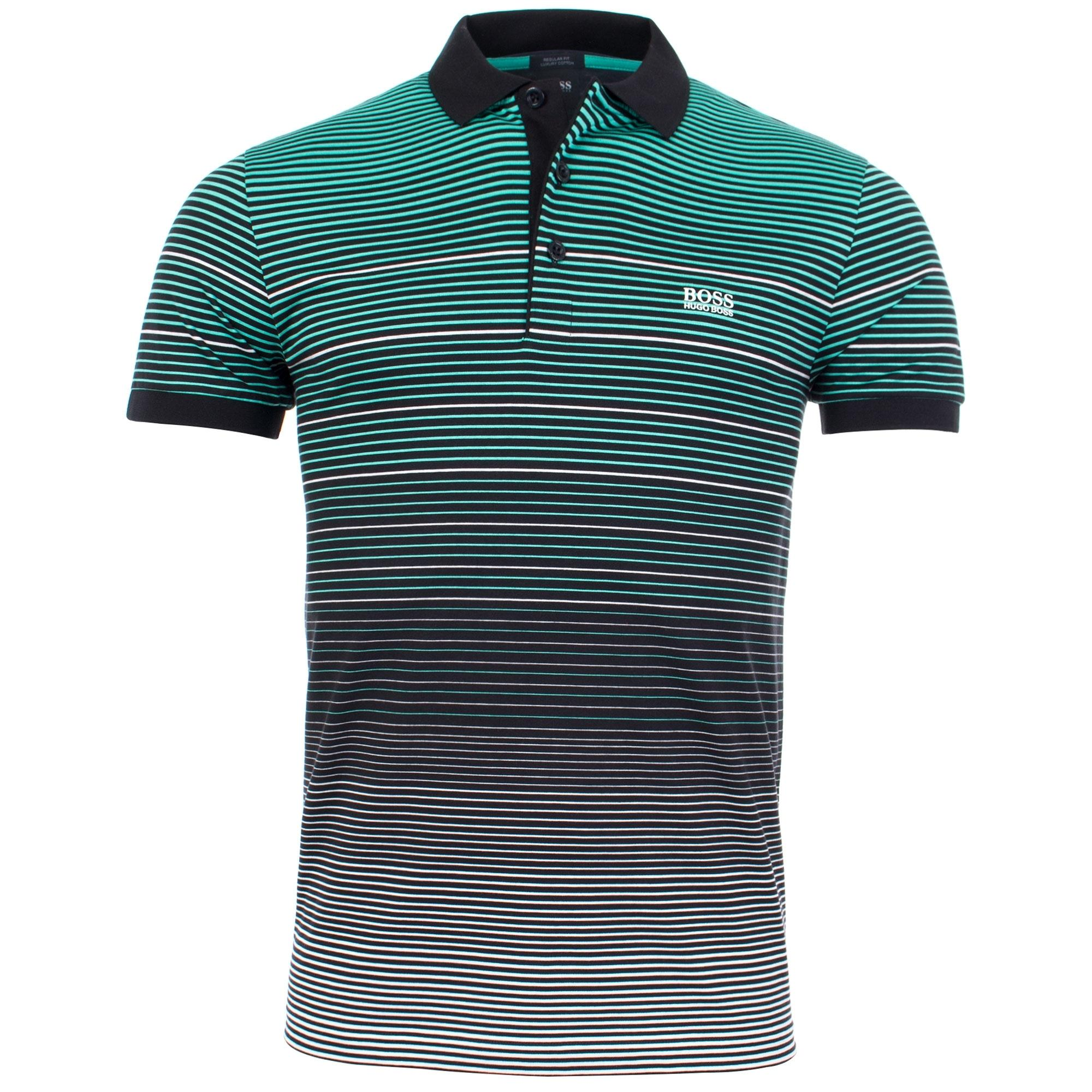 e2441f6f6 BOSS Athleisure Paddy 3 Engineered Multi Stripe Polo in Green for ...