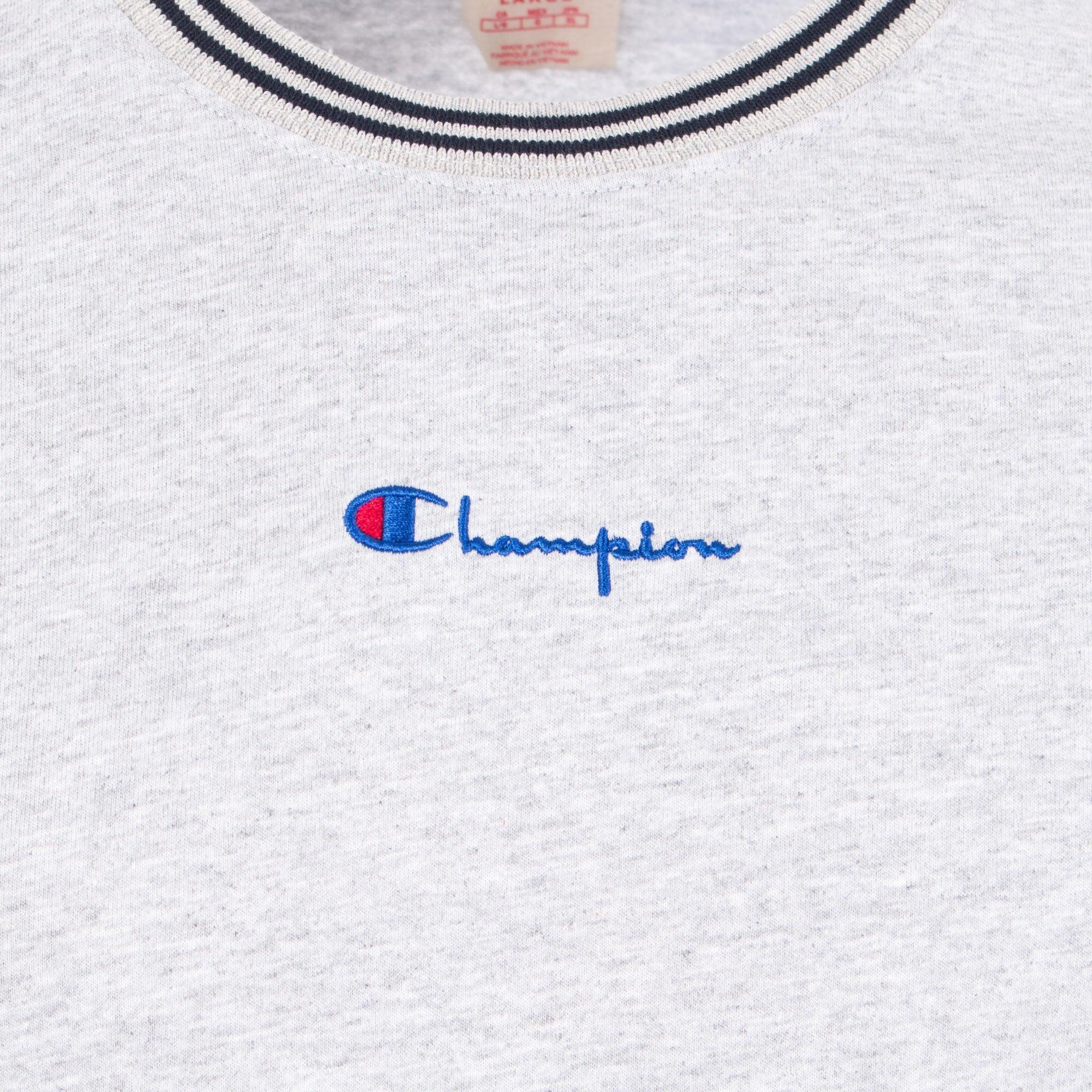 7d73b6079bd3 Champion - Gray Striped Ringer Small Script T-shirt for Men - Lyst. View  fullscreen