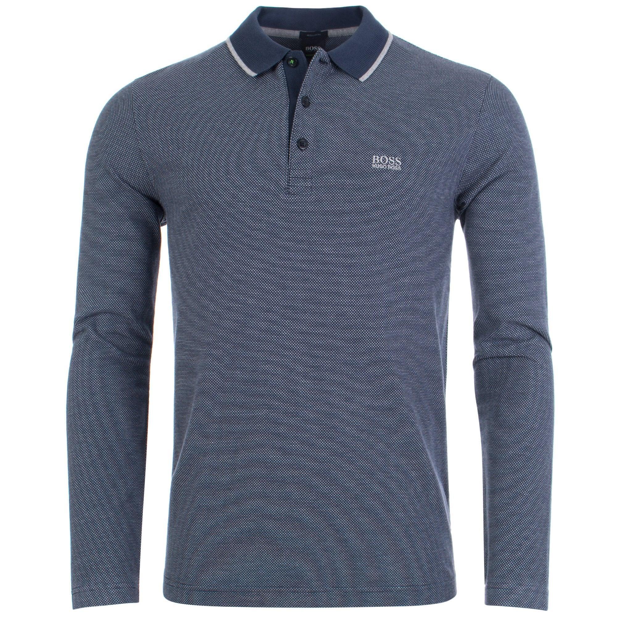 5d3fc3ea1 BOSS Athleisure Plisy 1 Long Sleeve Polo in Blue for Men - Lyst