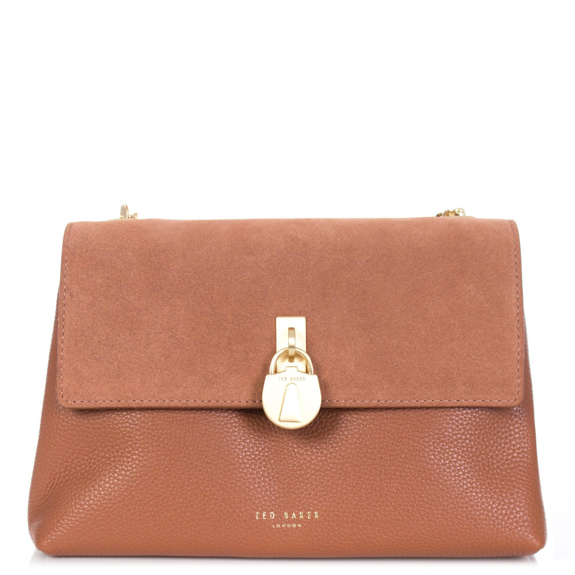 0f13204b915 Ted Baker Helena Leather & Suede Padlock Shoulder Bag in Brown - Lyst