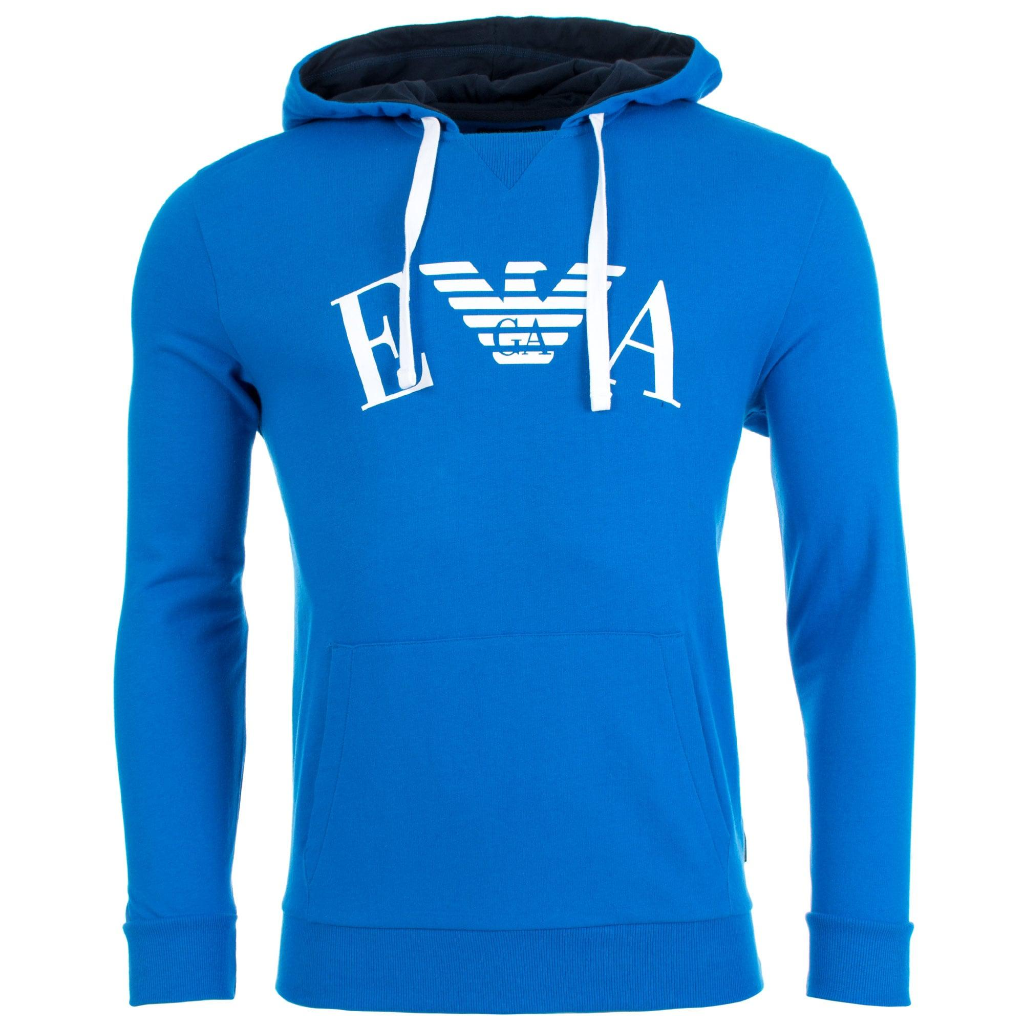 d12a1702b270f Emporio Armani Overhead Curve Logo Hoodie in Blue for Men - Lyst
