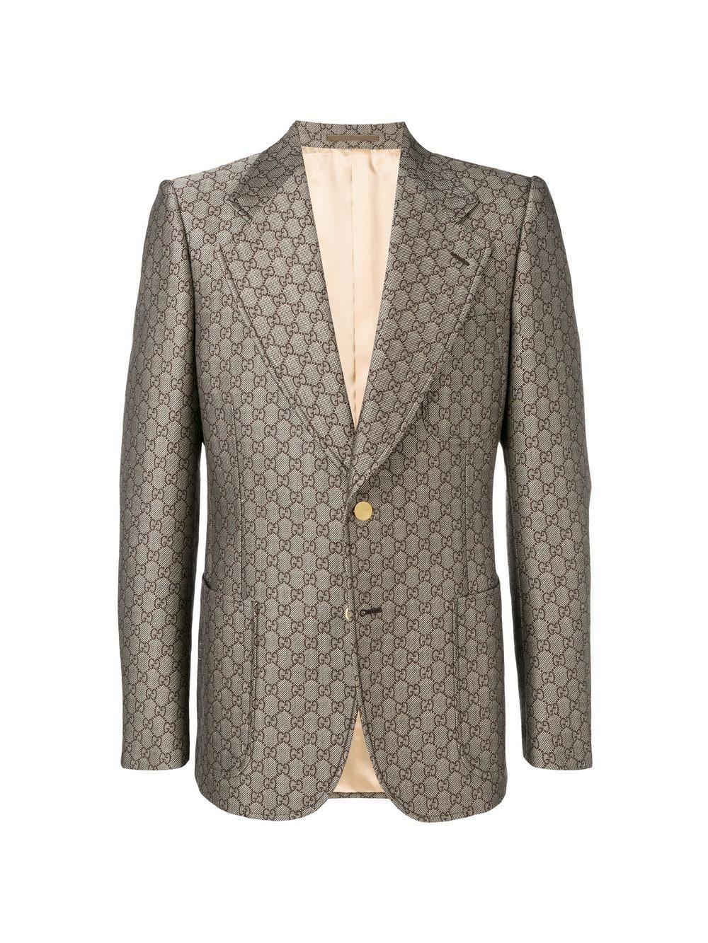 9ed9f88af Gucci GG Wool Blend Logo Blazer in Brown for Men - Save 11% - Lyst