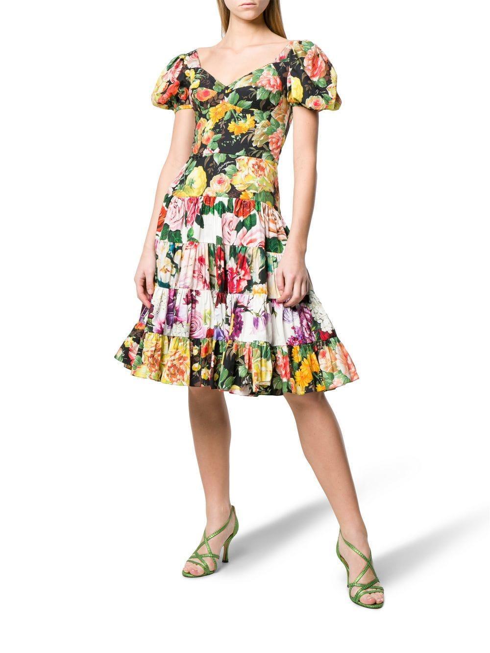 9ece5d87 Dolce & Gabbana - Black Floral Print Flared Dress - Lyst. View fullscreen