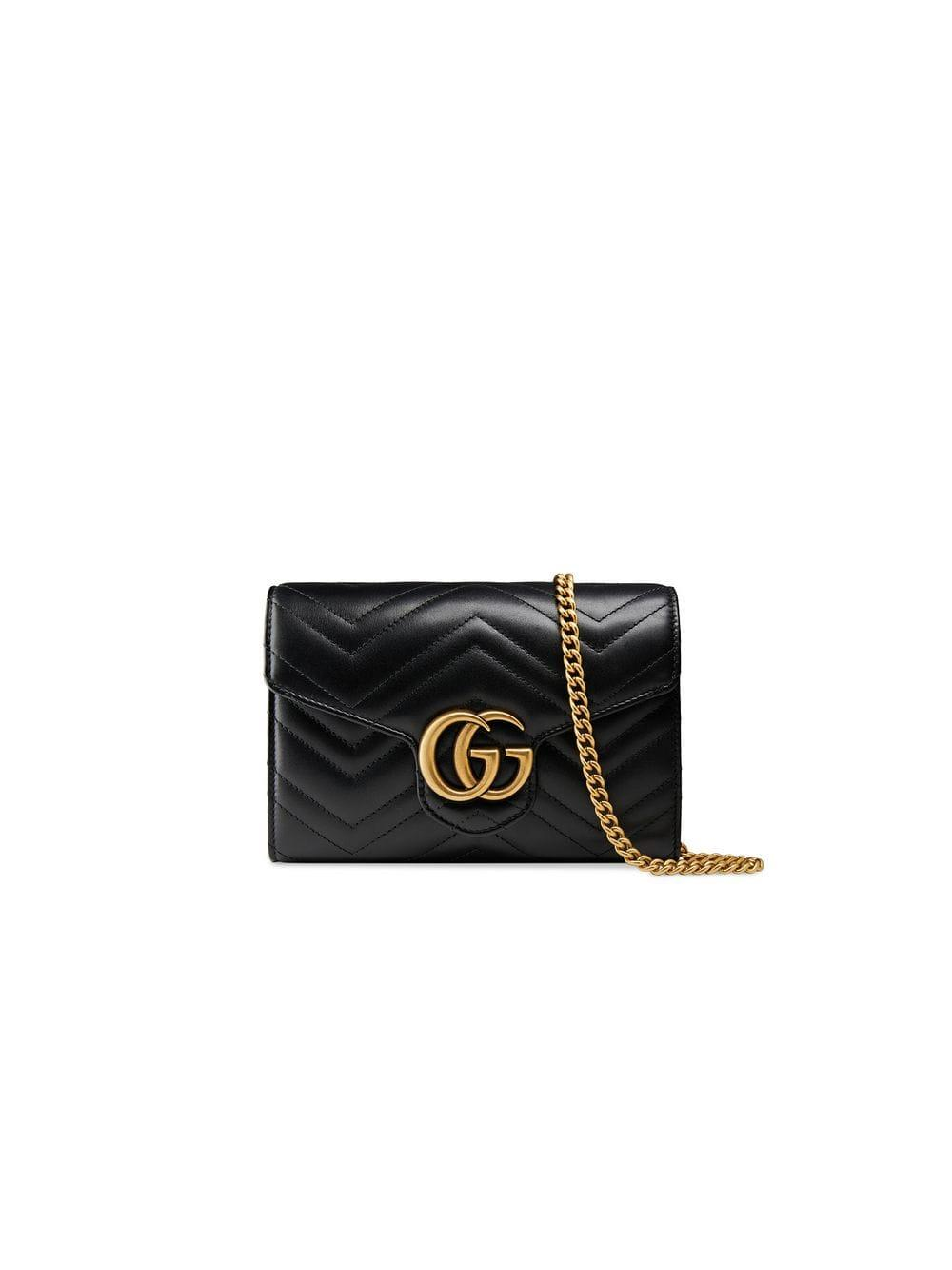 cde93461534 Lyst - Gucci Black GG Marmont Matelassé Mini Bag in Black