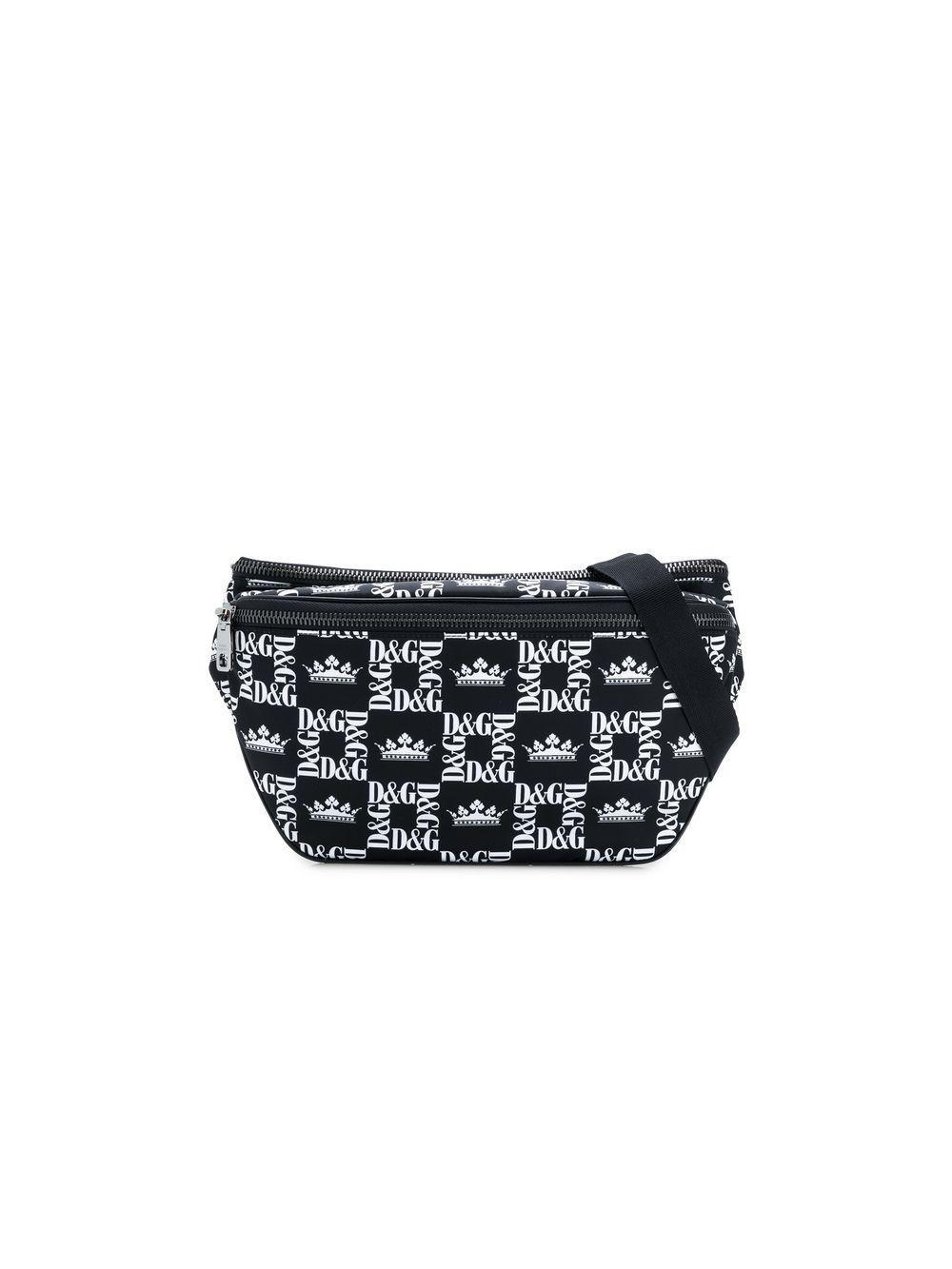 b3c6737b52 Dolce & Gabbana. Men's Black And White Logo Crown Print Cross Body Bag