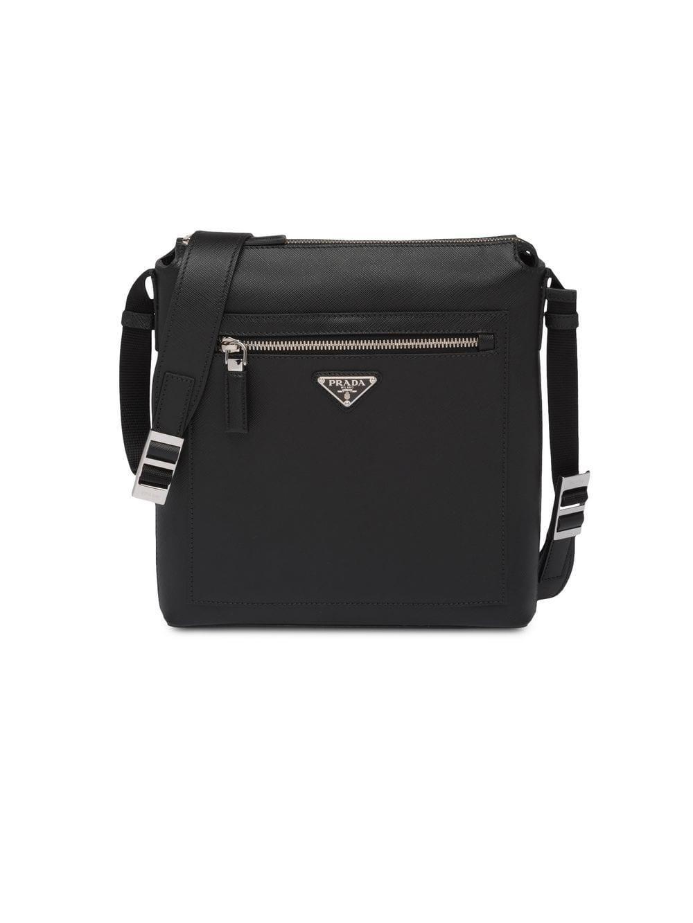 dc9a144aedcb81 Prada - Black Saffiano Leather Shoulder Bag for Men - Lyst. View fullscreen