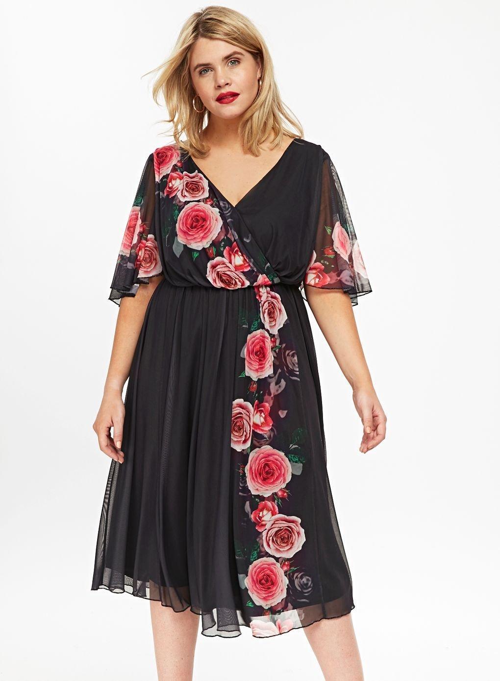 06cbb75543 ... Black Floral Print Skater Dress - Lyst. Visit Evans. Tap to visit site
