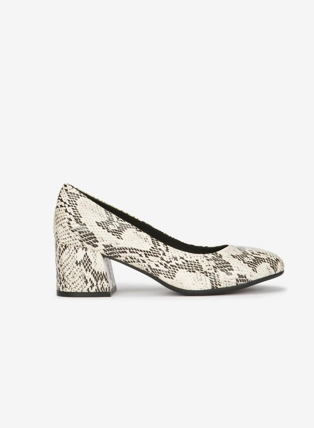 d5b33aa06670 Evans - Multicolor Extra Wide Fit Ivory Snake Print Court Shoes - Lyst.  View fullscreen