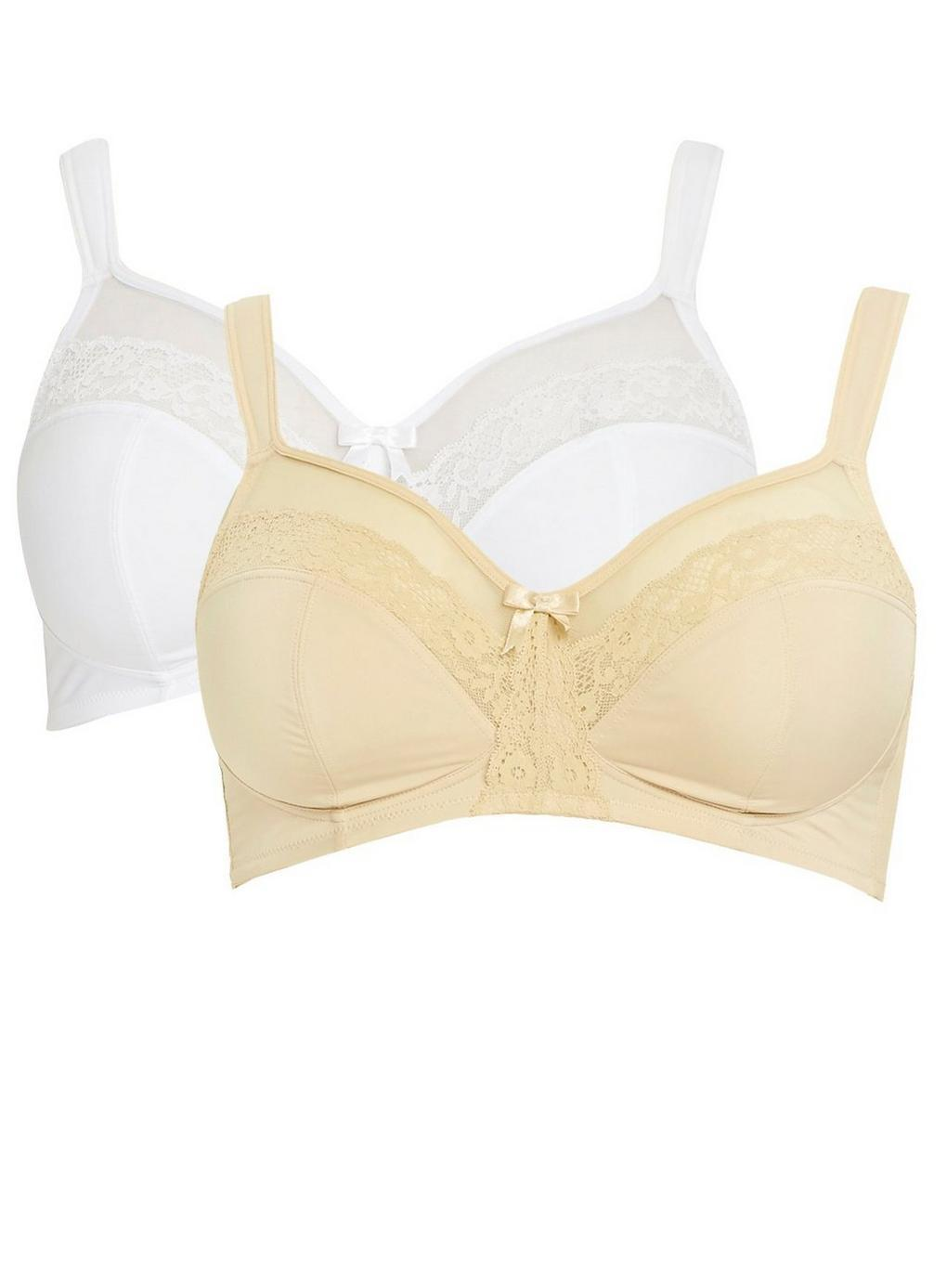 4ebc3c476a Evans 2 Pack Grace Nude And White Bras in White - Lyst