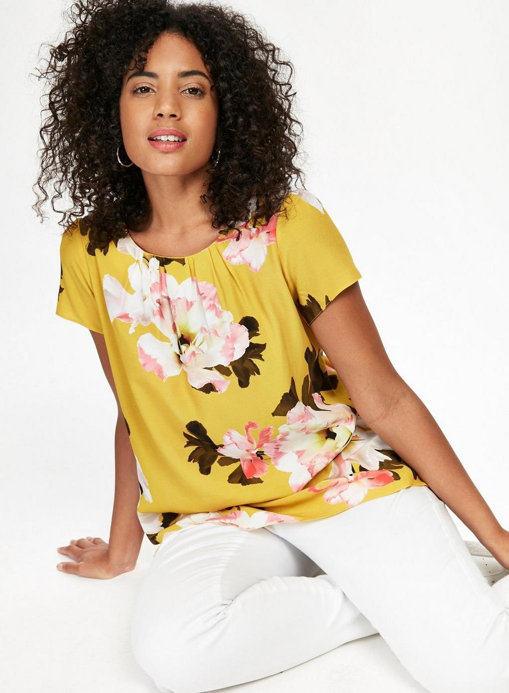 0f4f70d708 Evans Yellow Floral Print Shell Top in Yellow - Lyst