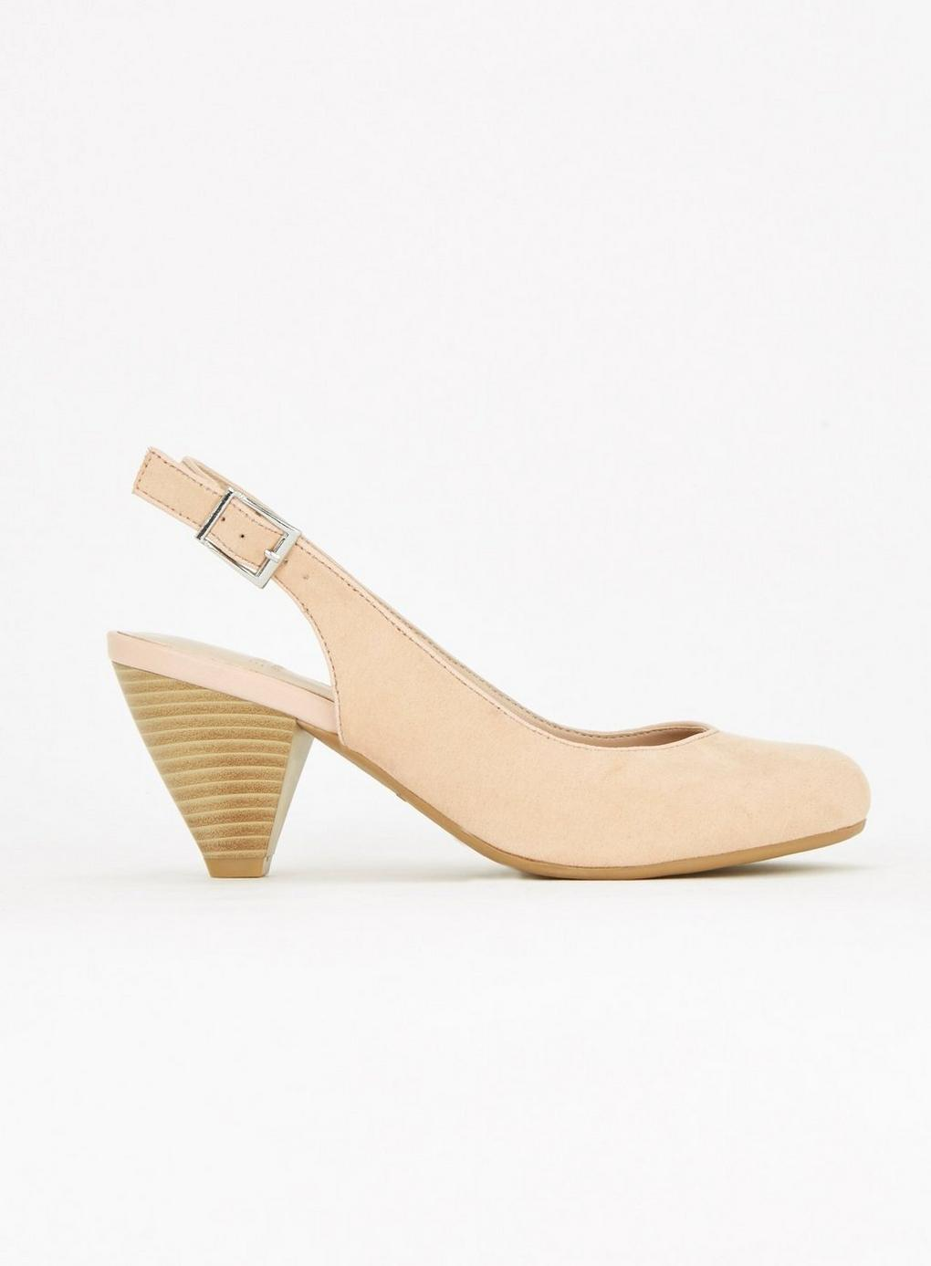 b906ddceb19 Evans Extra Wide Fit Nude Slingback Shoes in Natural - Lyst