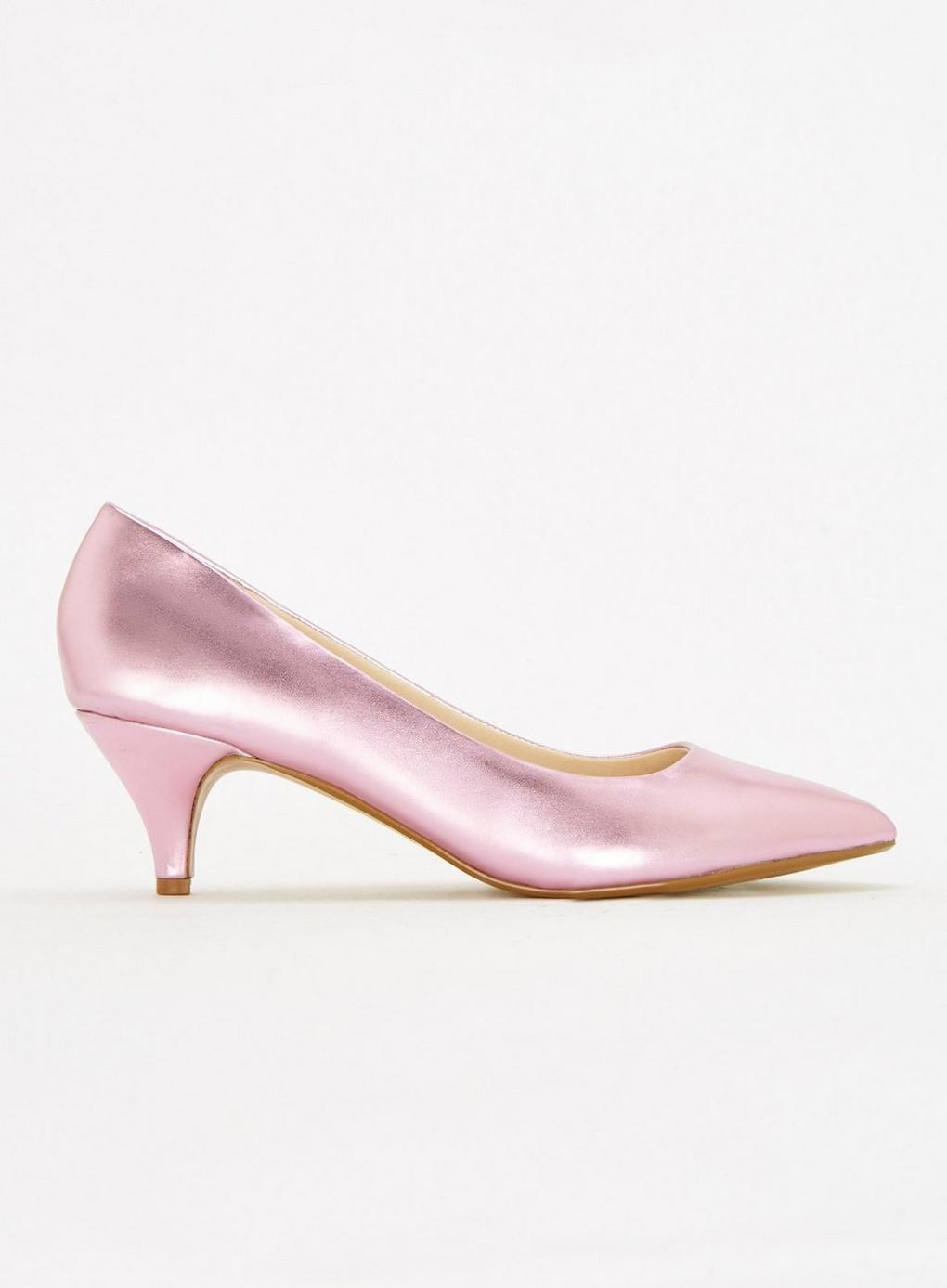 37cac555f68 Evans Extra Wide Fit Pink Metallic Kitten Heel Court Shoes in Pink ...