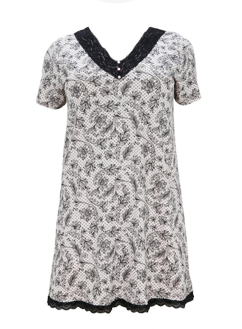 77899c7230 Evans Black Lace Printed Nightdress in Black - Lyst