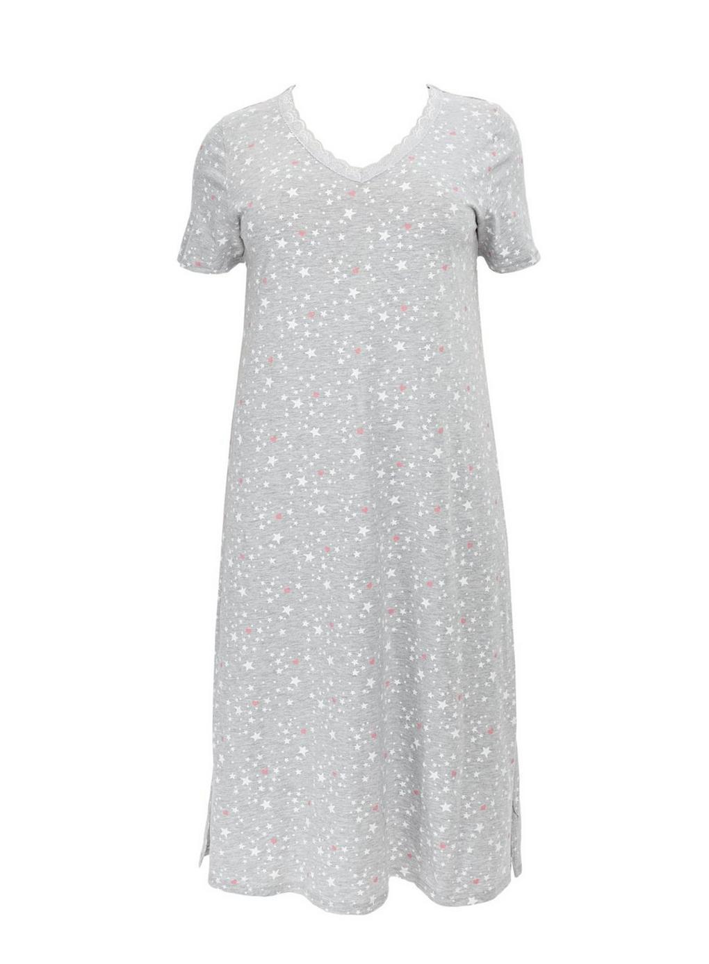 e81b621cf0 Evans Grey Star   Heart Printed Nightdress in Gray - Lyst
