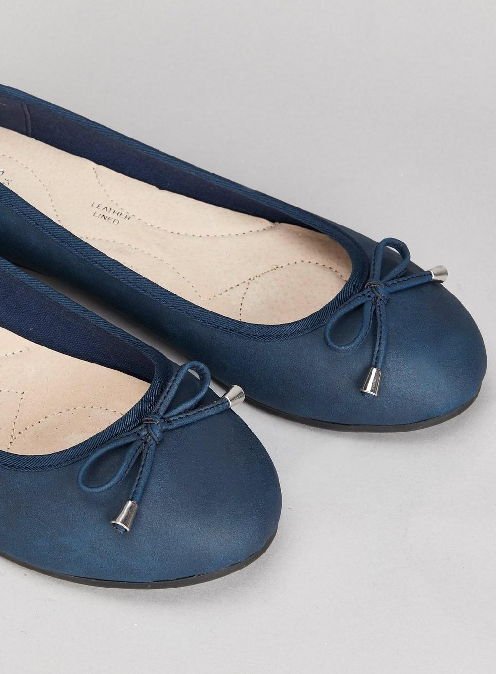 967f69bbd06 Evans - Wide Fit Navy Blue Bow Ballerina Shoes - Lyst. View fullscreen