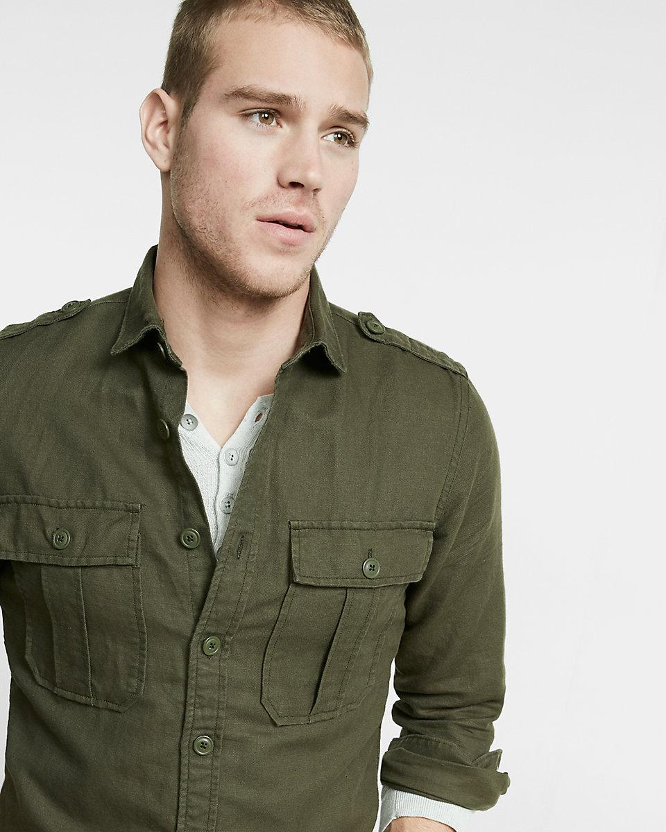Express Linen Blend Military Button Front Shirt In Green