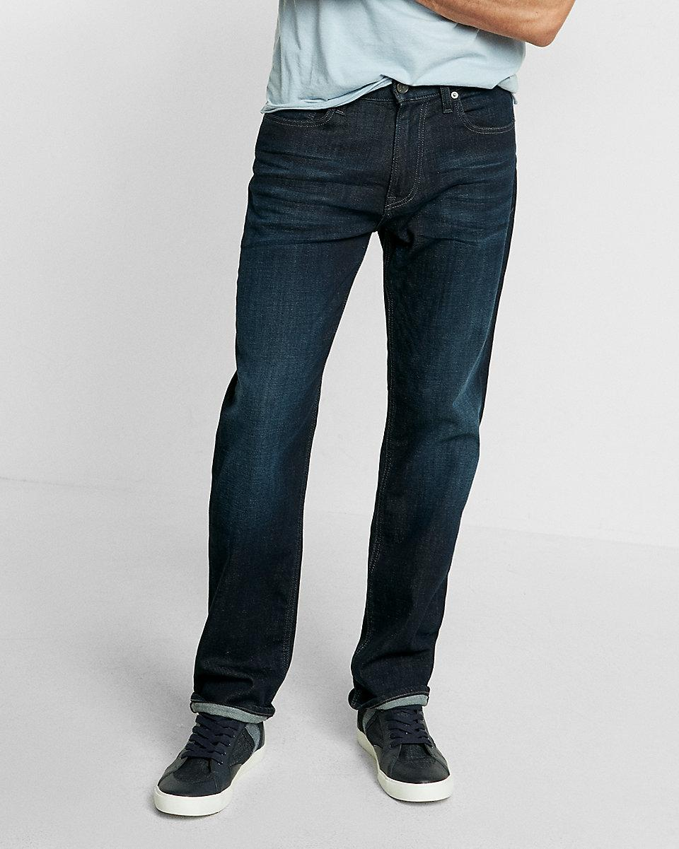 lyst express loose fit straight leg flex stretch jeans in blue for men. Black Bedroom Furniture Sets. Home Design Ideas