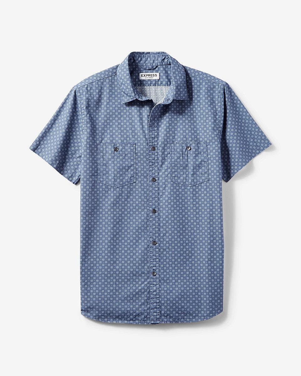 Lyst express soft wash micro circle print short sleeve for Soft cotton dress shirts