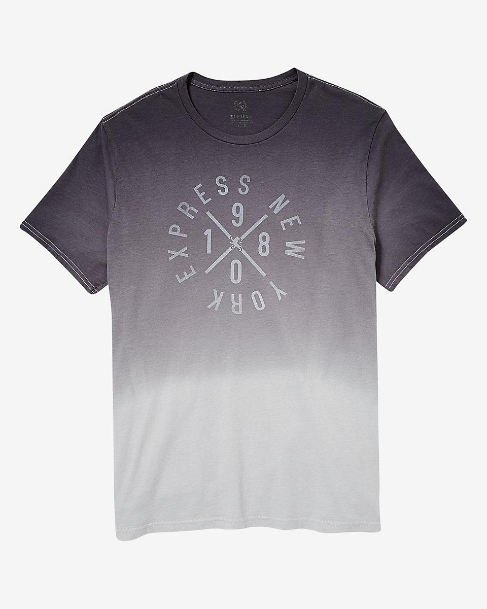 Express dip dye circle graphic t shirt in gray for men lyst for Mens dip dye shirt