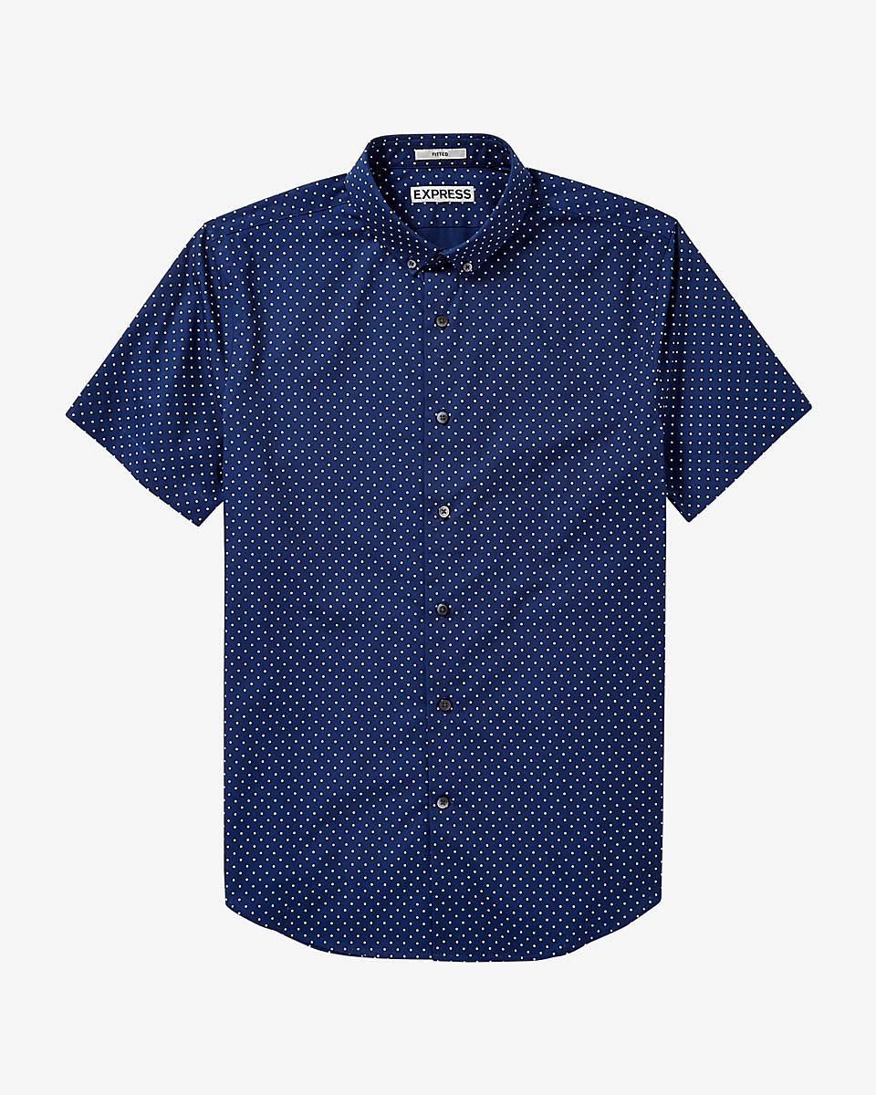 Express Short Sleeve Polka Dot Shirt In Blue For Men Lyst