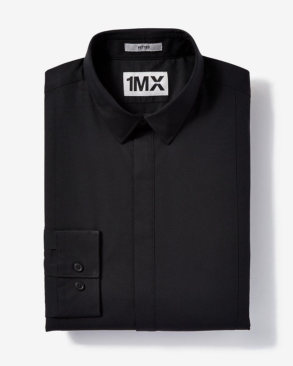 Lyst Express Fitted Tuxedo 1mx Shirt In Black For Men